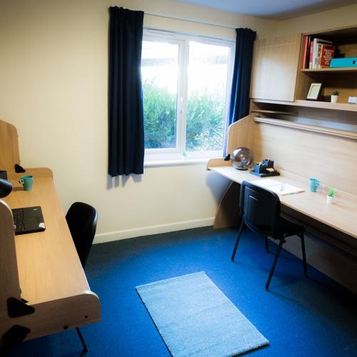 Twin room desks at Glasney Student Village