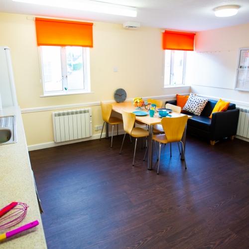 Shared open-plan living space at Tuke House halls of residence