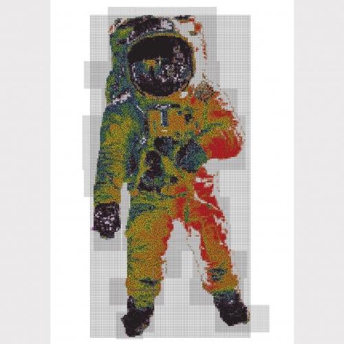 Multi-coloured artwork of astronaut.