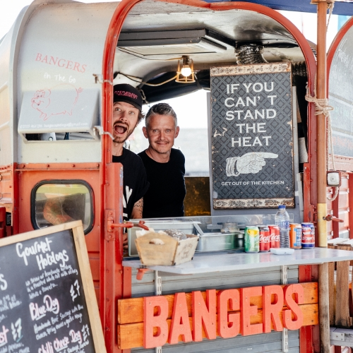 Bangers food stall at Falmouth University graduation 2019