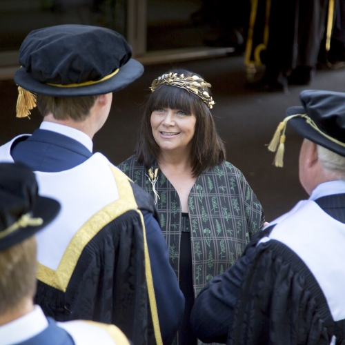 Falmouth University Chancellor Dawn French at Graduation 2019 wearing Mirri Damer crown and brooch