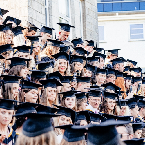 A sea of graduates' in hats and gowns at Falmouth University Graduation 2019