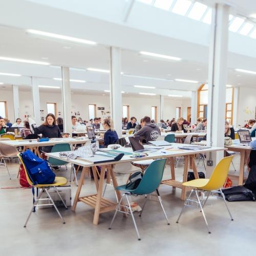 Students working in graphic design studio
