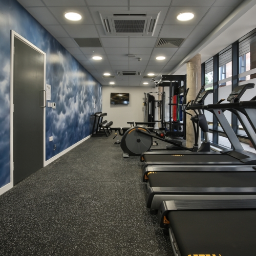 Gym interior with running machines