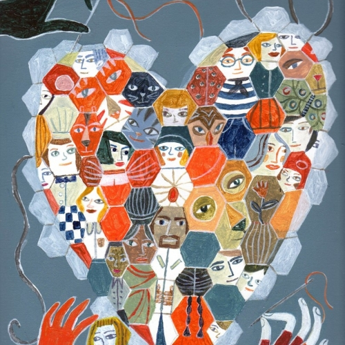 Artwork of a heart made up of lots of faces