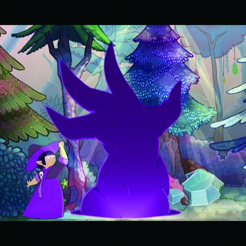 Animation of character with purple hat and dress in woods scene
