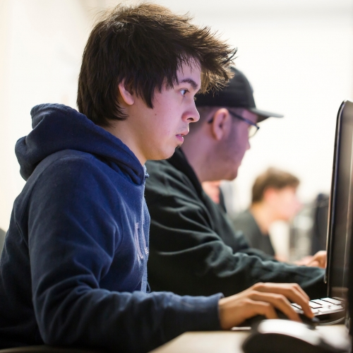 male student at a computer