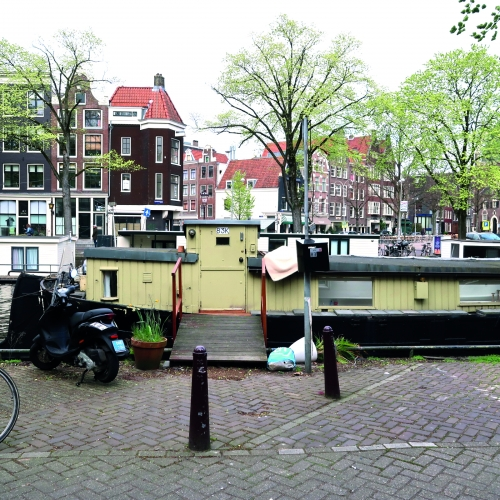 A houseboat in Amsterdam