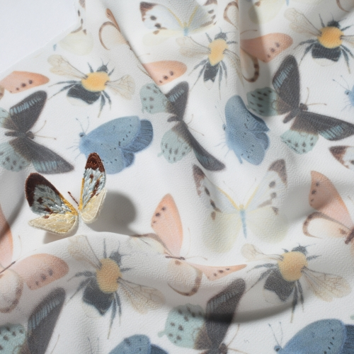 Butterfly patterned fabric.