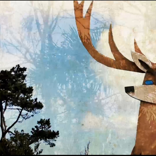 Animation of deer with tree and clouds background