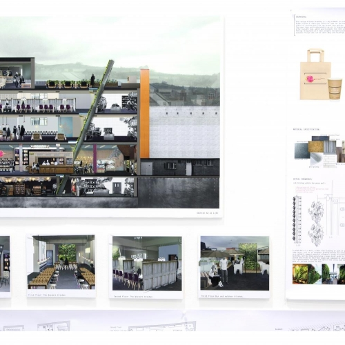 Design for multi storey restaurant with roof garden.