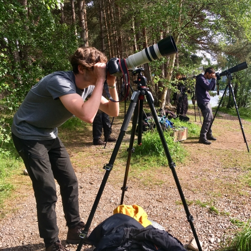 Men with cameras on tripods