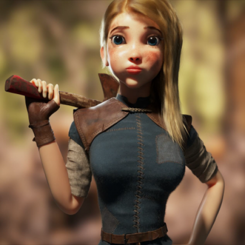 Animation of a girl with an axe