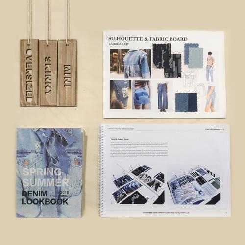 Trade show presentation of denim mood boards.