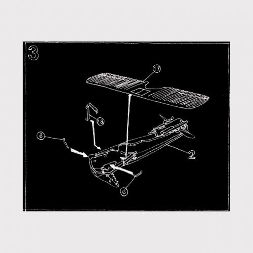 White line drawing on black background of aeroplane diagram.