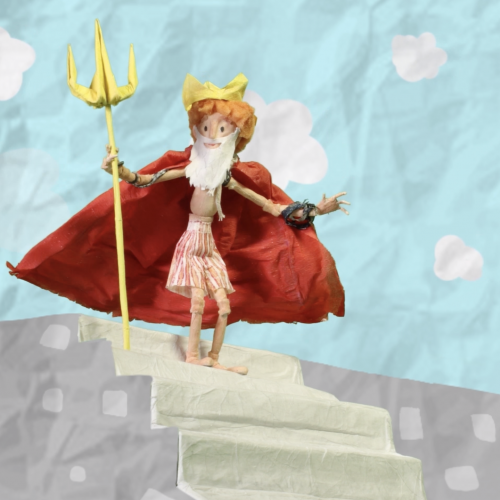 Animation of king Neptune on steps