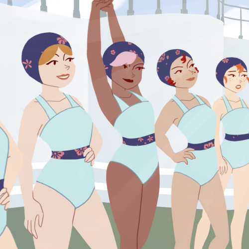 Animation of swimmers in a row