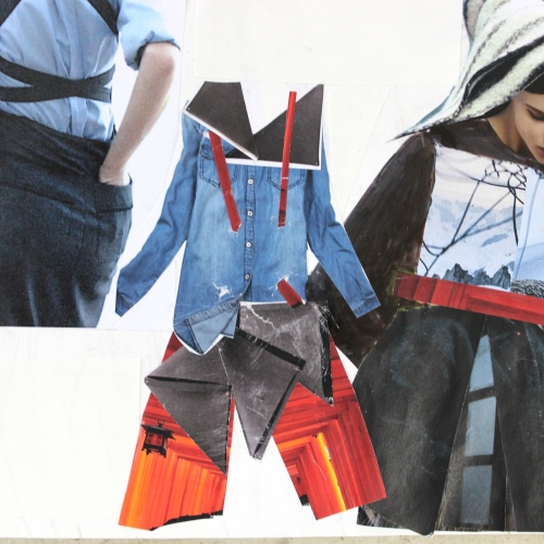 Cut outs of clothes and designs.