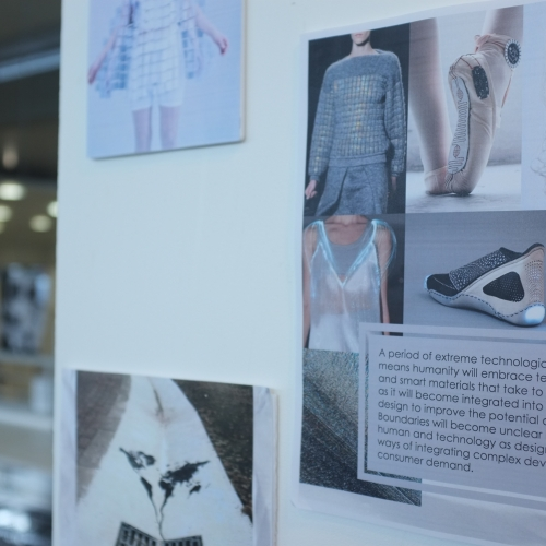 Mood board of futuristic looking fashion.