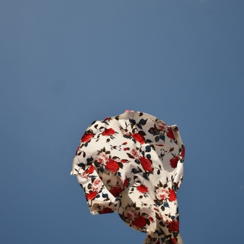 piece of cloth flying in the air