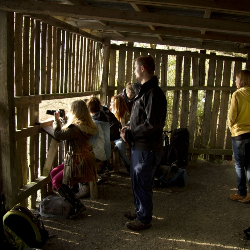 Students photographing from a hide out.