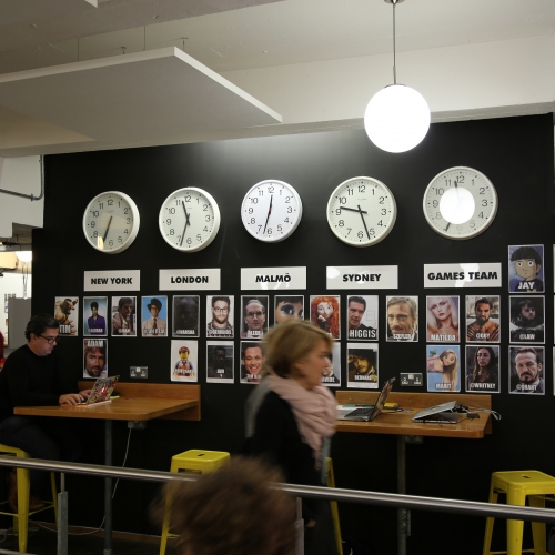 Studio visit London, clocks with times from around the world on the wall.