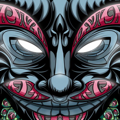 Masked face cartoon illustration in red and black