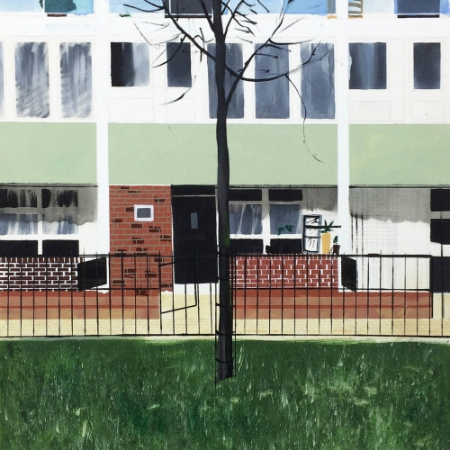 Painting of tree in front of block of flats.