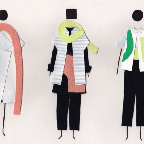 Abstract cut out shapes collage fashion illustrations.
