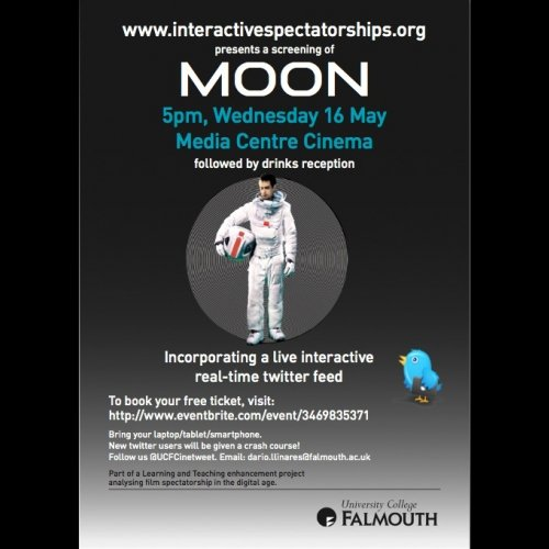 Advertisement for Film students' work, Moon featuring a young man in an astronaut suit.