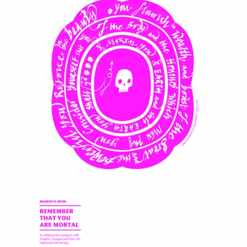Bright pink spiral with a skull drawing in the centre