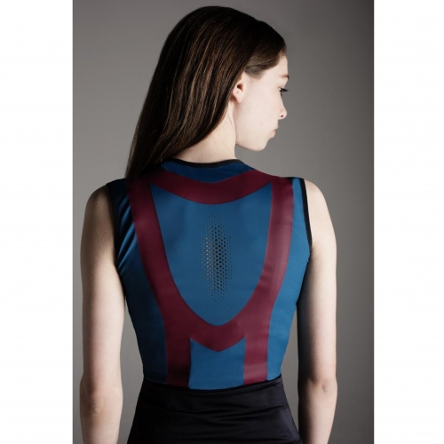 Model in blue vest top with maroon design on the back.