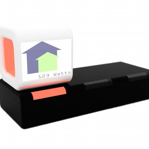 Electricity cube light on a black box station.