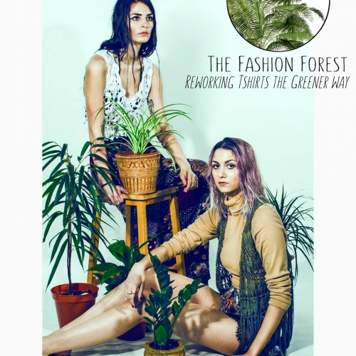 Models surrounded by houseplants.