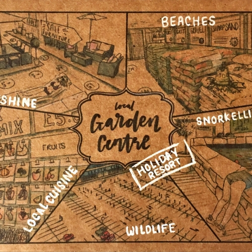 Postcard with the Garden course written on it