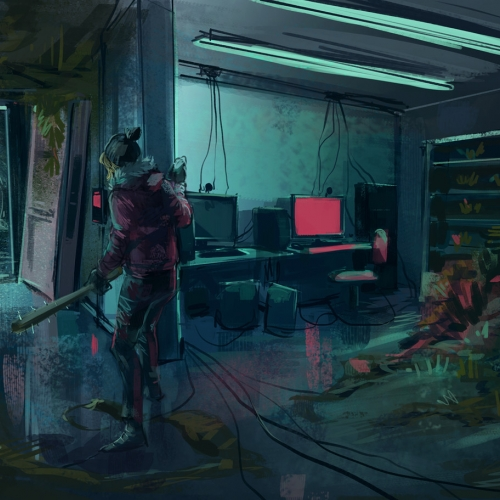 Digital illustration underground tunnel with computers and plant growth. Girl holding baseball bat with spikes.