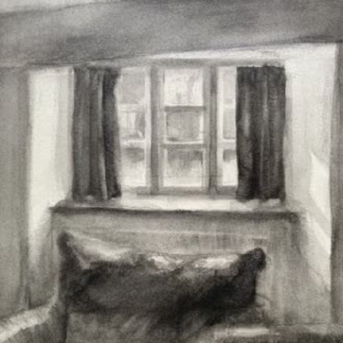 pencil drawing of arm chair and window