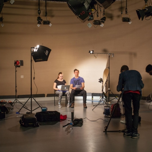 Students setting up in studio.