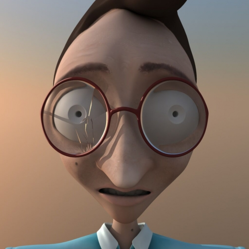 Digital animation of character with large eyes and round red-rimmed glasses.