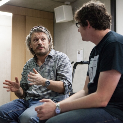 Richard Herring in discussion.