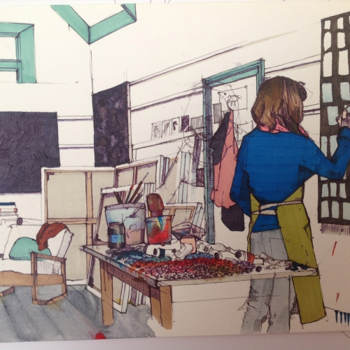 Drawing of artist at work in studio.