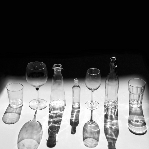 A selection of glassware being photographed
