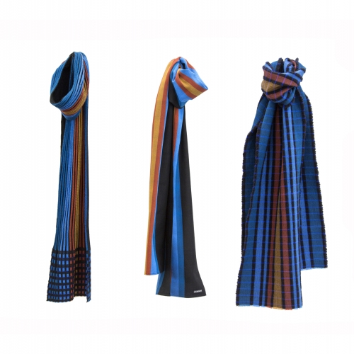 Blue, terracotta and mustard striped hand woven scarves.