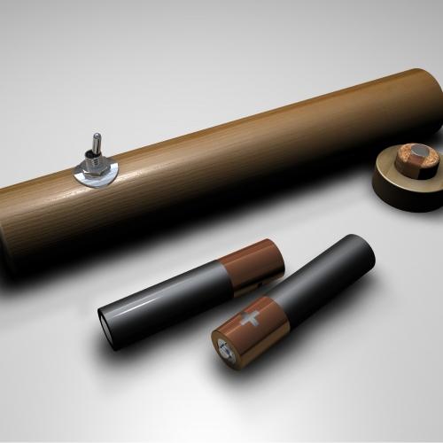 A wooden torch design.