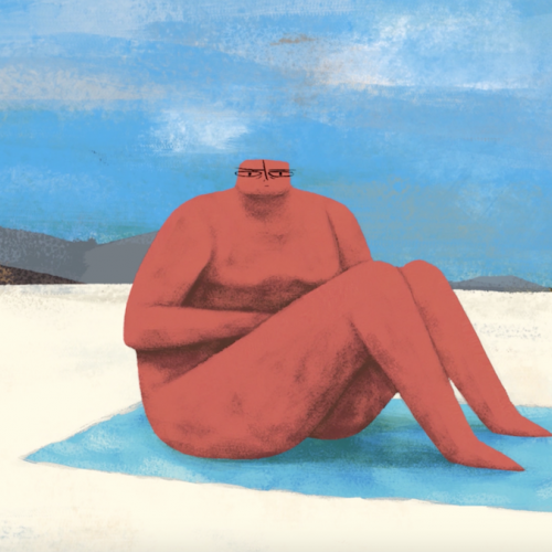 Animation of red figure sitting on a blue towel at the beach