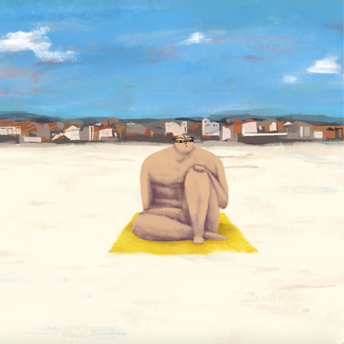 Two figures sitting on towels on the sand