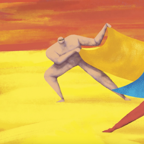 Animation still of two figures holding a large towel
