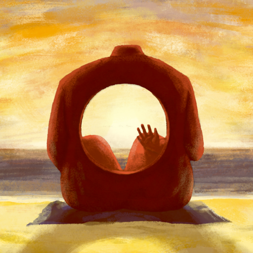 Artwork of body sitting on beach with large hole in torso framing the view