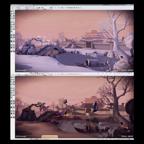 Screenshot of working illustration with cameras placed to show viewpoints during game.