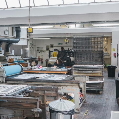 Printmaking studio at Falmouth University